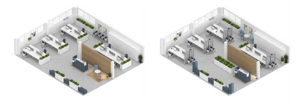 Exemple amenajare spatiu birouri COVID 19