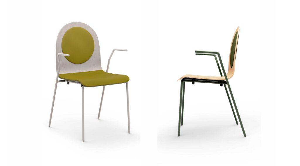 scaun din lemn cu brate metalice